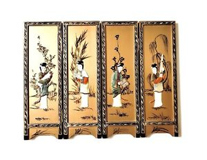 Vintage 4 Wood Panels Japanese Lacquered Hand Painted Mother Of Pearl Inlay