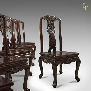 Traditional Oriental Rosewood Set Of 4 Dining Chairs Late 20th