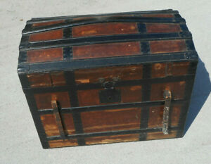 Antique Dome Top Steamer Trunk Chest For Display Or Restoration