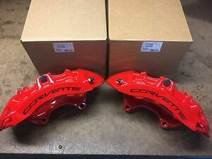 Set New Gm 2015 19 Corvette Z06 Front Red Brembo Calipers 23242497 23242498