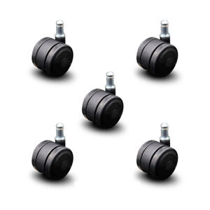 Scc soft Wheel Office Chair Casters 2 Black Twin Wheels hardwood Safe set Of 5