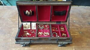 Lot Of Vintage Jewelry Rare Japanese Wood Antique Jewelry Box Mid Century