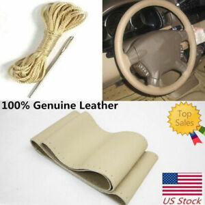 Hand Sew Leather Steering Wheel Cover Fit For Ford F 250 350 450 550 Super Duty