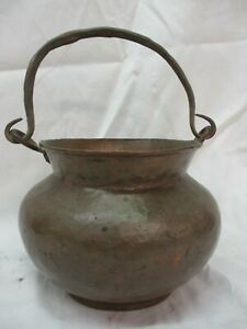 Antique Copper Hanging Bucket Pot Cauldron Hand Forged Hammered