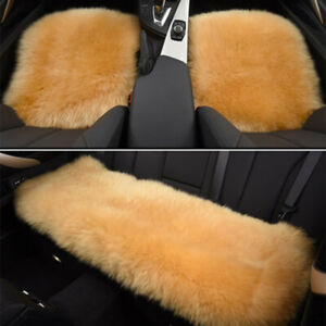 Car Full Set Seat Covers Farm Authentic Sheepskin Rug Wool Cushion Universal Fit