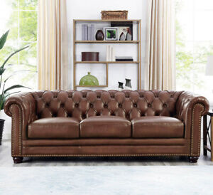 New Chesterfield Sofa Top Grain Walnut Brown Leather English Rh Style