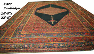 A 2nd To None 15 X 23 Antique Palace Size Persian Kurd Bidjar Rug