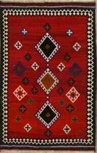 Nomadic Oriental Kilim Rugs Hand Knotted Wool Tribal Foyer Vintage Carpet 5 X 7