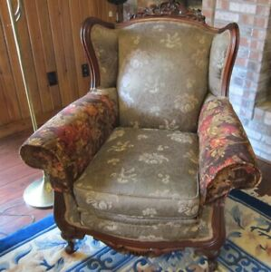 Vintage Carved Mahogany Wingback Armchair