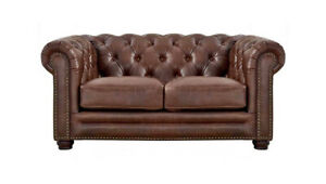 New Chesterfield Loveseat Sofa Top Grain Walnut Brown Leather English Rh Style