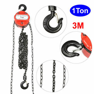 Chain Hoist Block And Tackle 1 Ton Winch Capacity Engine Lift Puller Fall W hook