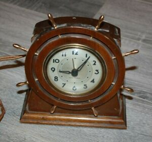 Vintage 1940 S Seth Thomas Ship Wheel Helm Clock Workng Nautical Brass