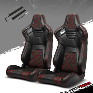 2 Universal Pvc Main Black Leather Red Stitching Left Right Racing Seats Slider