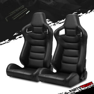 2 Pvc Mian Black Carbon Fiber Style Leather Left right Racing Seats Slider Pair