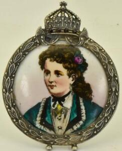 Antique Imperial Russian Silver 84 Garnets Hand Painted Enamel Frame Ovchinikov