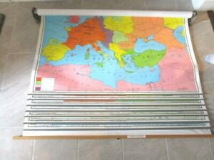 Pull Down School Classroom Wall Map World History 7 Maps Years 814 Ad 1700 Ad