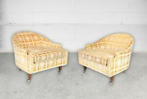 2 Mid Century Barrel Tub Chairs On Brass Casters Pearsall Cloud Chair Style