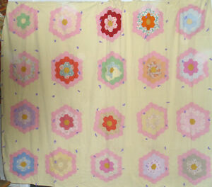 Antique Quilt For Repair Or Cutting 72 X 84 Grandmother S Flower Garden