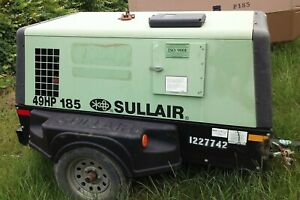 2016 Sullair 185 Tow Behind Turbo Diesel Portable Air Compressor With Low Hours