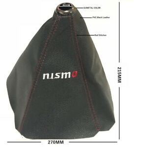 Jdm Nismo Shift Knob Shifter Boot Cover Mt At Black Pvc Leather Red Stitch New