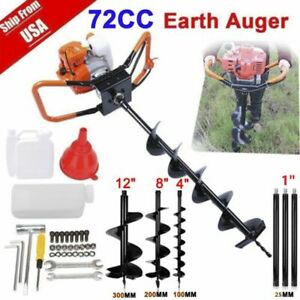 72cc 4hp Power Engine Gas Powered Post Hole Digger W 3 Auger Bits 4 8 12 Usa