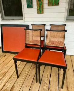 Rare Vintage 1960 Leg O Matic Folding Chairs And Table Set