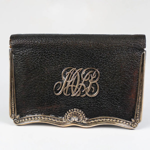 Antique Gorham Sterling Silver Leather Wallet Coin Purse Mvb Monogram