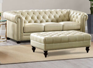 Stunning New Chesterfield Sofa Top Grain Creamy Ivory Leather English Rh Style