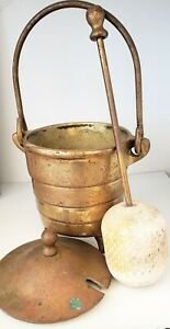 Heavy Brass Fireplace Starter Stone Pestle Mortar With Lid Vintage Antique