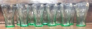 12-Vintage Small Green Coke Coca Cola Bell Glass Juice Beverage