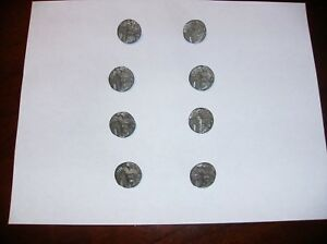 Lot Of 8 Antique Metal Picture Buttons