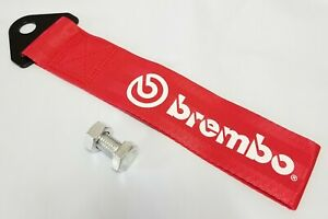 1x Red Jdm Brembo Racing Drift Rally Car Tow Towing Strap Belt Hook Universal