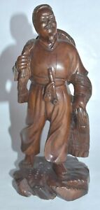 Antique 19c Chinese Carved Wood Figurine Working Man Marked Wax Seal