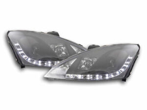 Ford Focus 2 2001 2004 Black Projector Drl Day Running Headlights Headlamps