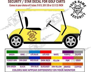 Golf Cart Security Vehicle Lettering Decals 3 Decals Free Shipping