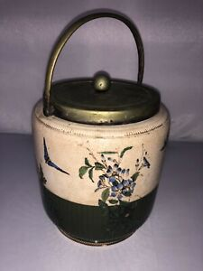 Vintage Joseph Rodgers Sons Biscuit Tobacco Jar Silverplate Porcelain Butterfly