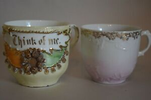 2 Tea Cups Made In Germany Think Of Me C T Eagle Gold Accents Purple Vintage
