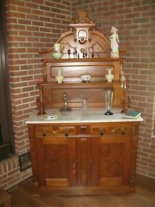 Victorian Marble Top Walnut Buffet Sideboard Vgc White Marble