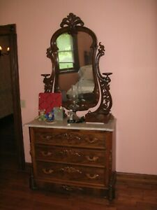 Victorian Walnut Dresser With Fabulous Mirror And White Marble