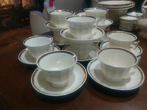 Antique Wedding Band Ironstone White Gold 8 Sets Of Cup Saucers 6 And Plus