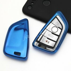 For Bmw Blue Tpu Smart Key Case Soft Shell Protector Holder Cover Accessories