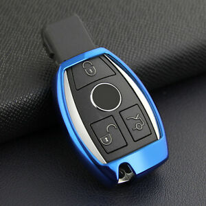For Mercedes Benz Blue Tpu Smart Key Case Soft Shell Protector Cover Accessories