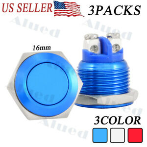 3pcs 16mm 12v Led Power Symbol On off Car Push Button Switch Metal Waterproof