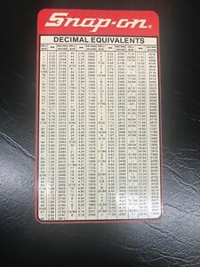 Snap On Tools Pipe Tap Drill Sizes Card Metric 2 Sided Ss 995 Vinyl