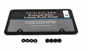 Bmw Oem Black Steel Finish Slimline License Plate Frame Single 82120010399