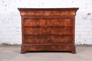 Antique French Louis Philippe Burled Walnut Chest Of Drawers Circa 1840