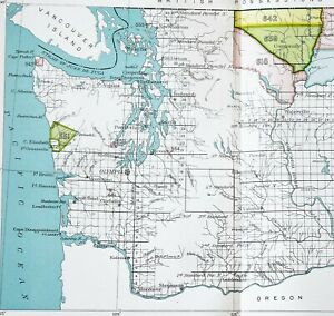 1899 Washington Map Seattle Olympia Native American Ceded Territories Treaties