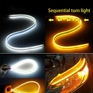 2pcs 60cm Slim Amber Sequential Led Drl Light Turn Signal Strip For Headlight