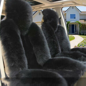 2pcs Authentic Sheepskin Fur Long Wool Car Autos Front Seat Cover Rug Fluffy