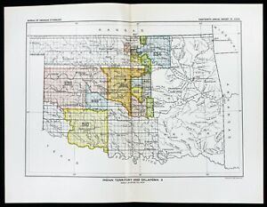 1899 Oklahoma Indian Territory Map Native American Ceded Territories Original